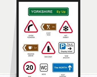 Yorkshire Poster / Yorkshire Print / Yorkshire Signs / Yorkshire Sayings / Yorkshire Phrases / Funny Yorkshire Poster / Yorkshire Home Gift