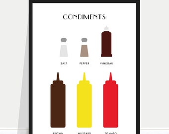 Condiments print / Condiments poster / Sauces poster / Table sauces print / Kitchen poster / Kitchen print / Kitchen art / Chef Gift / Cook