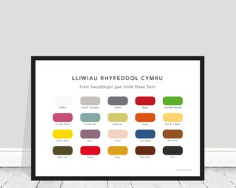 Cymraeg / The Wonderful Colours of Wales Print / Welsh / Welsh Paint Chart / Rugbi / Corgi / Castell Caerdydd / Welsh Home Gift / Welsh Gift