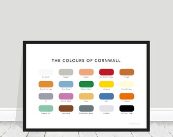 The Colours of Cornwall Print / Cornwall Paint Chart / Cornwall Poster / Cornwall Home Gift / Cornwall Present / Lifeboat / St Piran