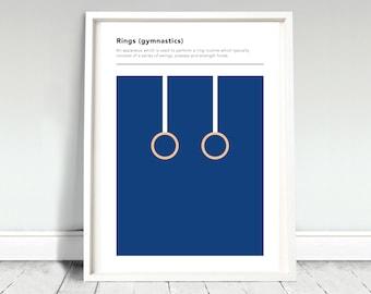 Rings Gymnastics Definition Poster / Gymnastics Print / Rings Poster / Olympics Print / Olympics Poster / Gymnastics gift / Gym gift
