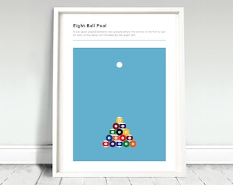 Eight Ball Pool Poster / 8 Ball Print / American Pool Poster / Billiards Poster / Pool Room Print / Games Room Poster / Billiards Fan Gift