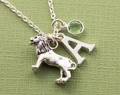 Personalized lion necklace, lion jewelry, august birthday gift, initial necklace, swarovski birthstone, gift for leo, birthstone necklace