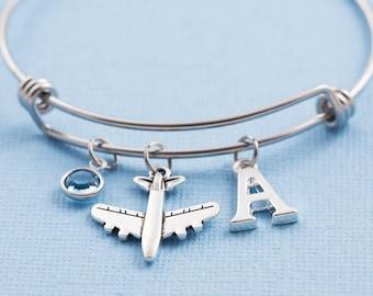 54b4b36aa1 Personalized airplane bracelet, aeroplane bracelet, hypoallergenic steel  bangle, birthstone bracelet, initial bracelet, gift for pilot