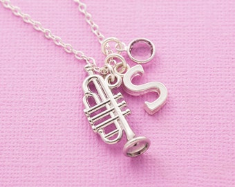 Personalized Gift Music Necklace Musician Jewelry Silver Trumpet Necklace Hand Stamped.Trumpet Pendant Initial Necklace