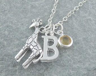 Giraffe necklace, giraffe pendant, initial necklace, swarovski birthstone, personalized jewelry, silver giraffe jewelry, gift her, safari