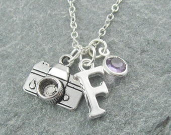 Camera necklace, silver camera charm, personalized jewelry, initial necklace, swarovski birthstone, photographer gift, photography necklace