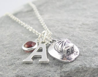 Firefighter helmet necklace, personalized jewelry, swarovski birthstone, initial necklace, sikver chain, fireman helmet, firefighter gift