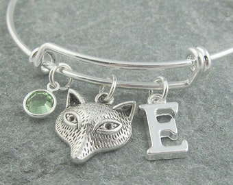 Fox bracelet, silver fox jewelry, fox charm bangle, initial bracelet, monogram bracelet, swarovski birthstone, personalized jewelry, for her