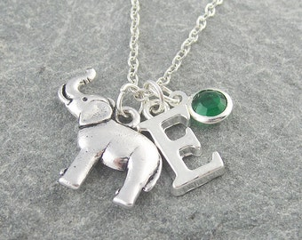 Elephant necklace, silver elephant pendant, personalized jewelry, swarovski birthstone, initial necklace, elephant jewelry, gift for her