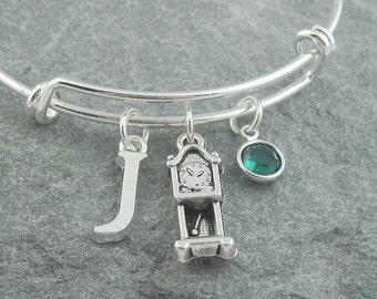 Clock charm bracelet, grandfather clock, clock gift, initial bracelet, swarovski birthstone, personalized jewelry, silver bangle, horology