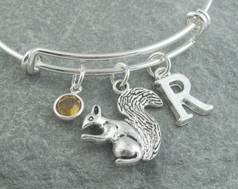 Squirrel bracelet, squirrel jewelry, adjustable silver bangle, initial bracelet, swarovski birthstone, personalized jewelry, squirrel gift