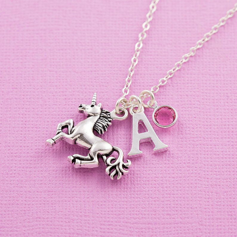 Unicorn necklace personalized jewelry initial necklace image 1