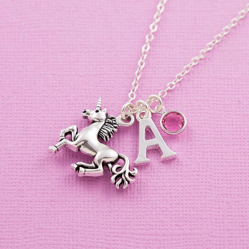380593a325e34 Unicorn necklace, personalized jewelry, initial necklace, swarovski  birthstone, birthstone necklace, unicorn jewelry, unicorn gift, for her