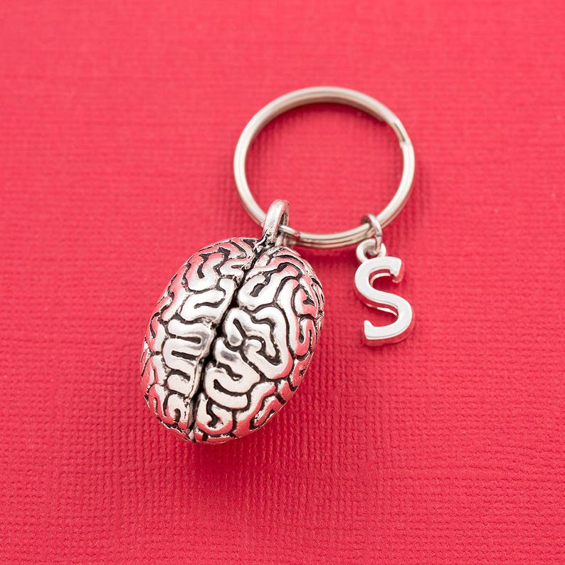 Human brain keychain, brain keyring, personalized keyring, initial  keychain, science gift, biology student, neurology, neurologist gift