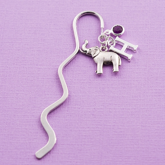 Personalized elephant bookmark with silver initial and a crystal birthstone