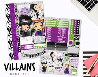 "Planner Stickers Weekly Villain Queen ""VILLAINS"" Mini Kit (Erin Condren, Mambi, Happy Planner)"