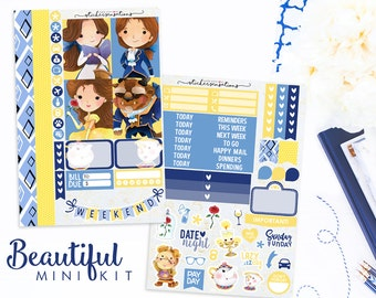 """Planner Stickers Weekly Beauty and The Beast  """"Beautiful"""" Mini Kit (Erin Condren, Mambi, Happy Planner)"""