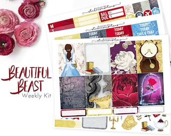 """Planner Stickers Beauty and the Beast  """"Beautiful Beast"""" Weekly Kit (Erin Condren, Mambi, Happy Planner)"""