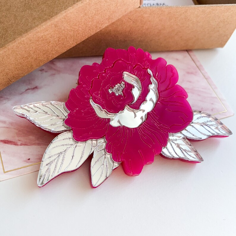 Pink peony Flower summer spring brooch Acrylic jewellery dress pin badge for girl gift