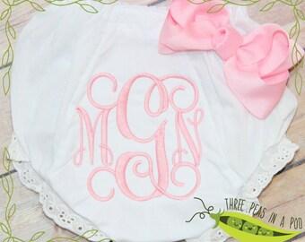 Baby Girl Monogrammed Bloomers Baby Girls Ruffle  Bloomers Baby Girl Shower Gift Monogrammed Bib