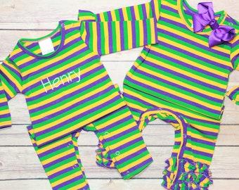 Mardi Gras Fleur-de-lis with Heart Onesies Jumpsuit as picture12 Months
