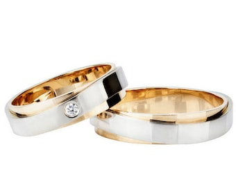 Matching wedding bands. Wedding bands unique.  His and hers wedding bands. Couple wedding rings. Diamond wedding bands. 14k wedding bands