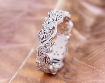 Women Flower Zircon Rings White Rose Gold Band Wedding Engagement Jewelry QK