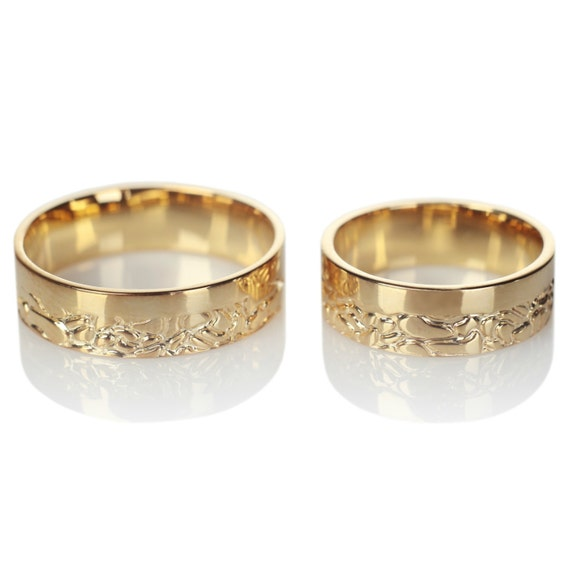14k Gold His And Hers Wedding Bands Wedding Bands Gold Etsy