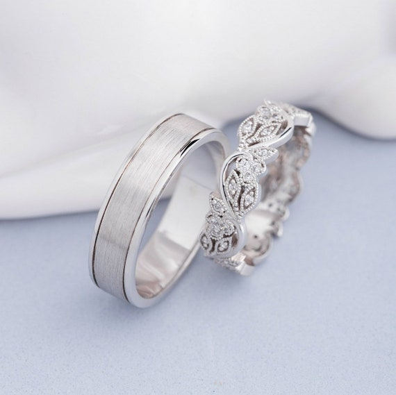 His And Hers Wedding Bands Wedding Rings Set Unique Wedding Etsy