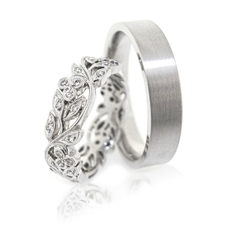14k Gold Wedding Bands Wedding Ring Set Unique Wedding Etsy