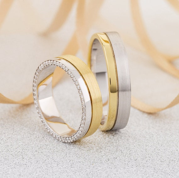 Mixed Metals Wedding Bands With Diamonds Gold Wedding Rings Etsy
