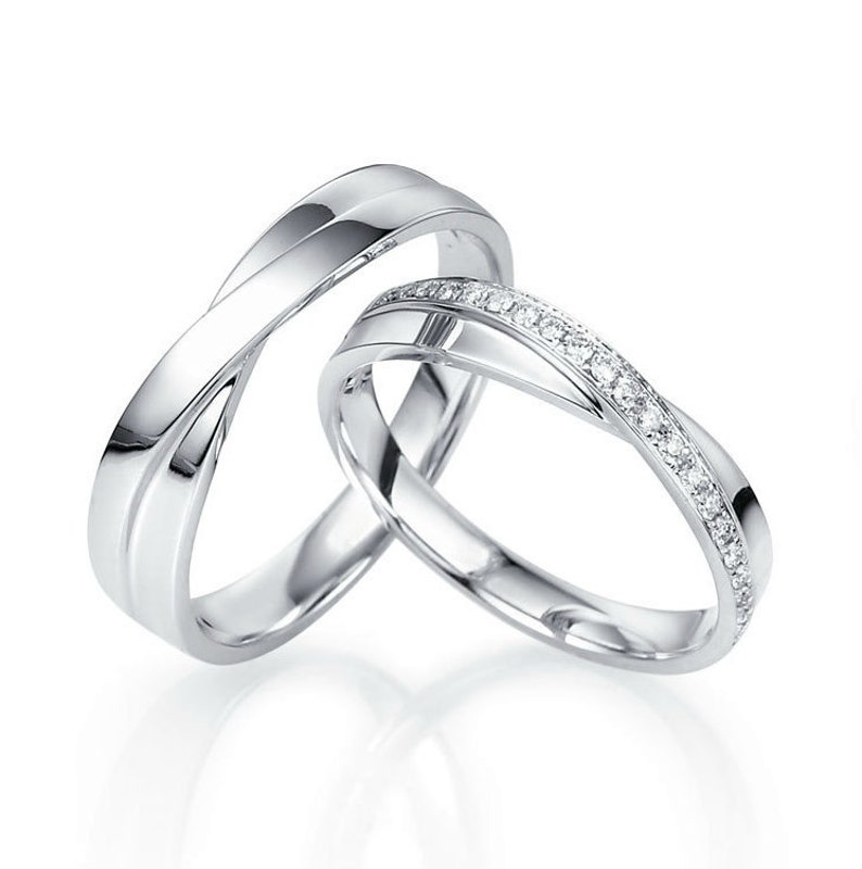 White Gold Wedding Band.14k White Gold Wedding Bands Gold Wedding Bands Unique Wedding Bands Matching Wedding Bands Wedding Bands His And Hers Couple Rings