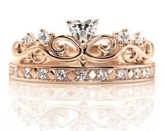 14k Gold Crown Rings Set. Princess crown ring. Queen ring. Princess ring. Gold Crown Ring. Tiara ring. Crown ring.Bridal rings set.