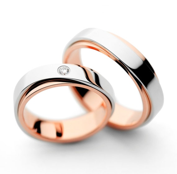 Matching Wedding Bands Wedding Bands His And Hers Wedding Etsy