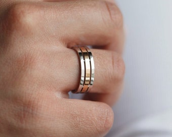 Men's wedding band made of solid 14k gold. Mens wedding ring two tone. Gold wedding ring. Mens wedding ring unique