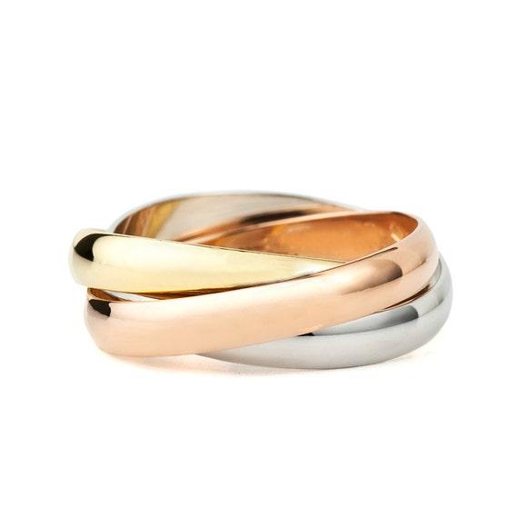 14k Gold Trinity Wedding Band Trinity Ring Rolling Ring Etsy