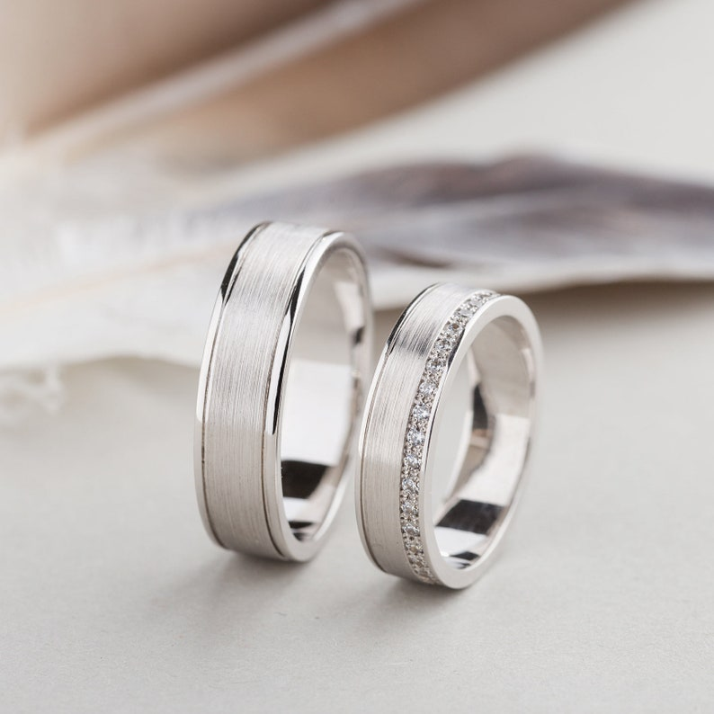 Wedding Bands His And Hers White Gold Wedding Bands Etsy