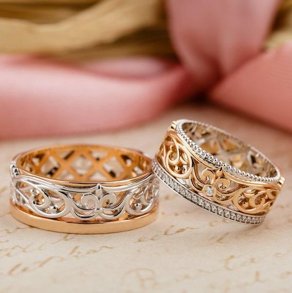 Unique Wedding Rings Wedding Bands Gold Wedding Rings Matching Wedding Bands Non Standard Wedding Rings Fleur De Lis Ring