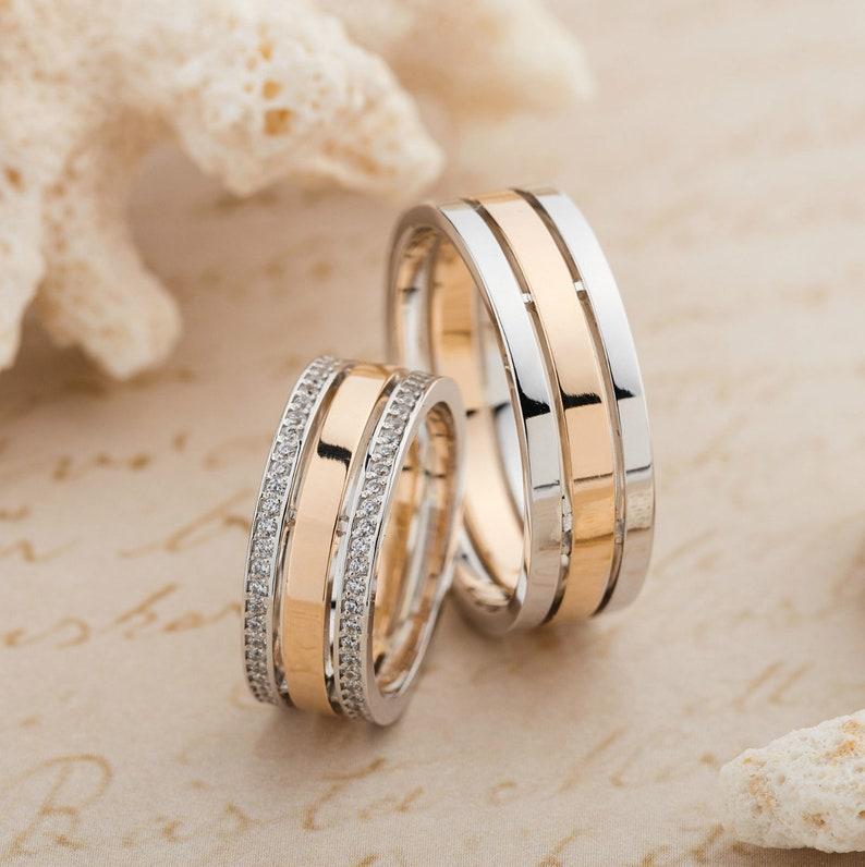 Two Tone Wedding Bands Gold Wedding Rings Mens Wedding Ring Etsy
