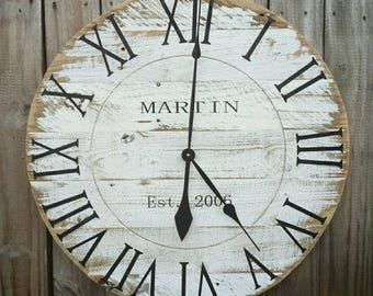 CUSTOM 36 Large Rustic Farmhouse Reclaimed Pallet Wood Clock Weathered Distressed White