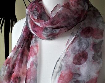 Long Chiffon Silk Scarf - Unique Hand Painted - Agate Series - Pink Rhodochrosite