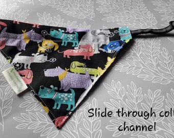 Pet Bandana with Poo Bag pocket on the underside of 3 sizes - 4 sizes 4 designs- pet accessory - pet gift