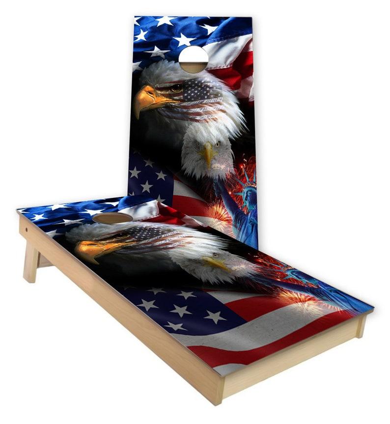 American Eagle Flag Cornhole Wrap Cornhole Decal Set Laminated