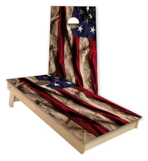 American Flag Cornhole Skin Wrap Decal With Laminate