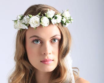 WHITE FLOWER CROWN - lace crown - flower crown - floral halo - wedding crown - bridal headpiece - festival crown - bridal accessories