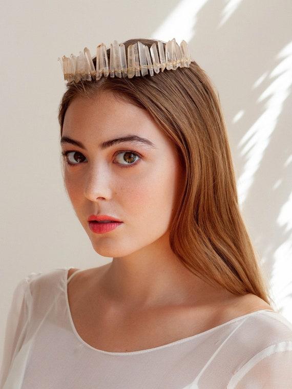 Bridal Crown Quartz Wedding Halo Quartz Boho Crown Festival Headband Blush Quartz Tiara Wedding Headpiece Quartz Crystal Crown
