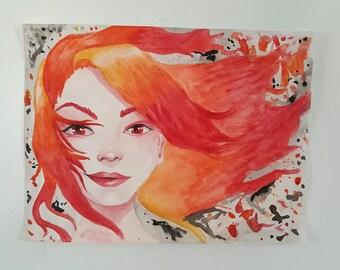 """Original watercolor painting, watercolor girl, """"fire""""  9""""x12"""""""