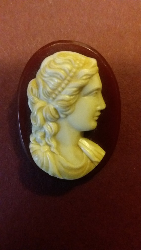 Beautiful 1930's Celluloid Cameo pin,,