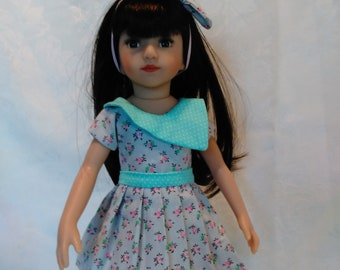 "13"" doll, pleaded skirt, top and hair bow set, fits 13"" little darlings and mini pals"